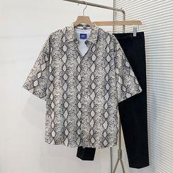 VEAZ - Short-Sleeve Snake Pattern Shirt