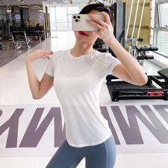 BEEMEN - Short-Sleeve Plain Yoga Top