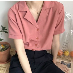 Whoosh - Plain Short-Sleeve Blouse