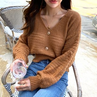 NANING9 - V-Neck Buttoned Sweater