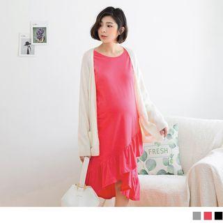 OrangeBear - Maternity Ruffled Hem Layered Dress