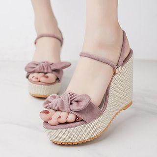 Weiya - 蝴蝶结厚底船跟凉鞋
