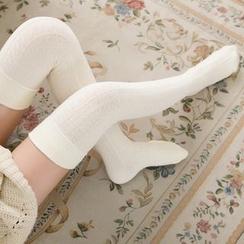 Coshield - Plain Thigh-High Stockings