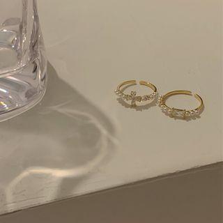 Calypso - Rhinestone Faux Pearl Open Ring