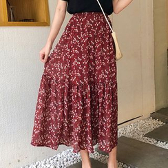 Dute - Floral Chiffon A-Line Midi Skirt