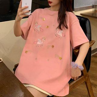 Dreamkura - Short-Sleeve Unicorn Embroidered T-Shirt