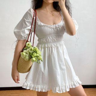 Sinora - 荷叶边短袖迷你A字连衣裙
