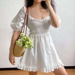 Sinora - Ruffle Trim Short-Sleeve A-Line Mini Dress