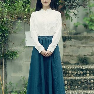 Sulis - High Waist Midi A-Line Skirt / Shirt