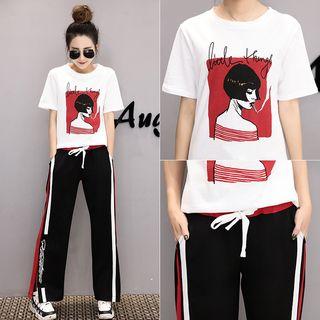 Sienne - Set:  Print Short-Sleeve T-shirt + Pants