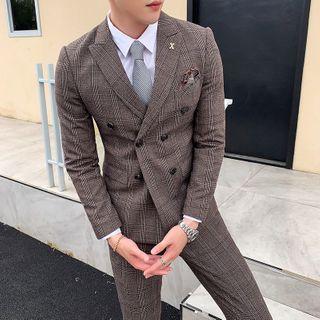 Blueforce - Set: Plaid Button-Up Blazer + Vest + Dress Pants