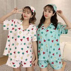 Sadelle - Pajama Set: Printed Short-Sleeve Shirt + Shorts + Sleeping Mask