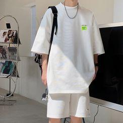 子俊 - 圓領純色短袖T裇/純色運動短褲