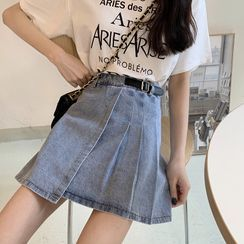 Lady Jean - Asymmetrical Pleated Denim Mini A-Line Skirt