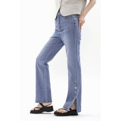 SIMPLY MOOD - Button-Side Straight-Leg Jeans