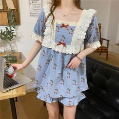 CEYX - 櫻桃印花短袖家居服套裝/櫻桃印花短袖睡裙