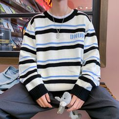 Bay Go Mall - Lettering Striped Sweater