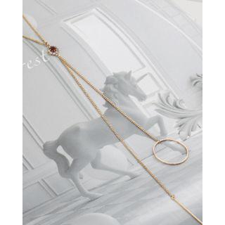 Miss21 Korea - Hoop & Bar Lariat Necklace