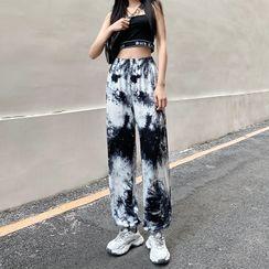 WEEKEND BLOOPERS - High-Waist Tie-Dye Print Sweatpants