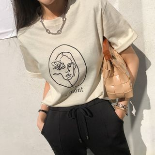 DABAGIRL - Short-Sleeve Face Print T-Shirt