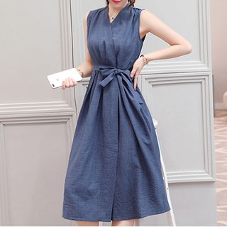 Fashion Street - Sleeveless Linen A-Line Midi Dress