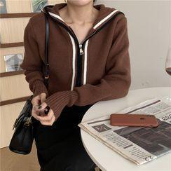 Auboi - Color-Block Knit Zip Hoodie