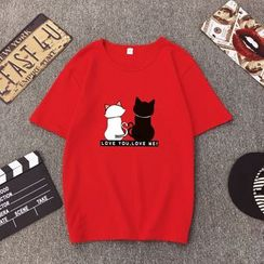 santrani - Short-Sleeve Cat Print T-Shirt