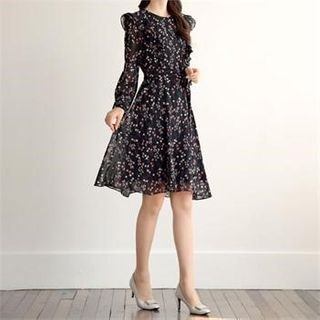 CHICLINE - Frilled-Detail Floral Print Dress With Sash