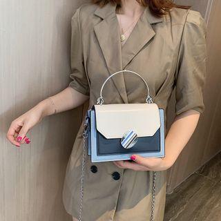 Genova - Faux Leather Color Block Crossbody Bag