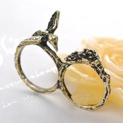 Fit-to-Kill - Double-ring Bird and Flowers Ring