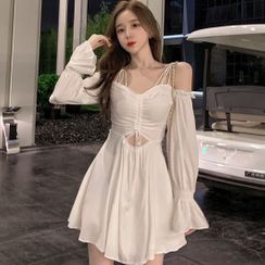 Bestcat - Cold-Shoulder Drawstring A-Line Dress