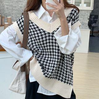 Coline - Loose-fit-Fit Houndstooth Knit Vest