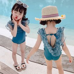 Ohori - Kids Mesh Ruffle Swimsuit