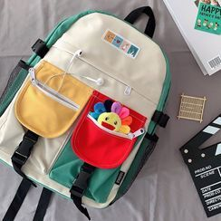 Caraket - Color Block Multi-Section Nylon Backpack