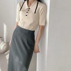 NAIN(ナイン) - Piped Ribbed Knit Polo Shirt
