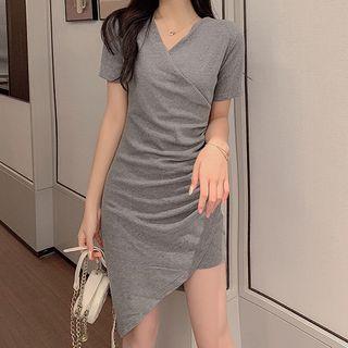 Faria - Short-Sleeve Asymmetrical Shirred Mini Sheath Dress