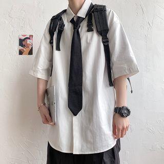 Breeson - 純色中袖襯衫