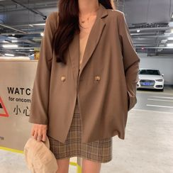 Yako - Double-Breasted Blazer / Spaghetti-Strap Top / Mini Skirt