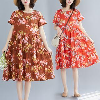Sienne - Floral Short-Sleeve Midi A-line Dress