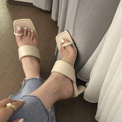 安若 - 方形鞋头粗跟凉拖