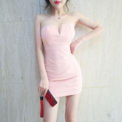 Sodoo - 纯色露肩迷你塑身连衣裙