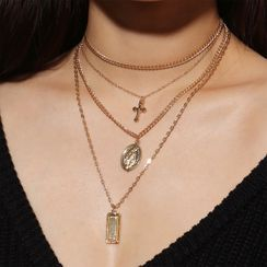 Gemsha - Alloy Cross Pendant Layered Choker Necklace
