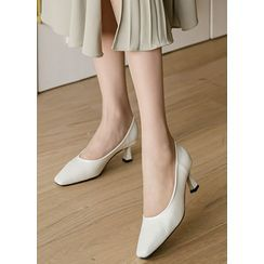 Styleonme - Square-Toe Spool-Heel Pumps