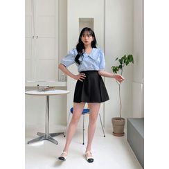 chuu - Box-Pleat A-Line Miniskirt