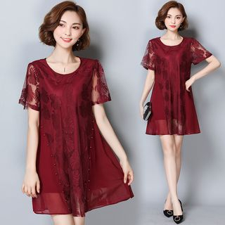 Coheat - Short-Sleeve Chiffon A-Line Dress