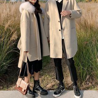 Ink Brush - Couple Matching Furry Hood Coat