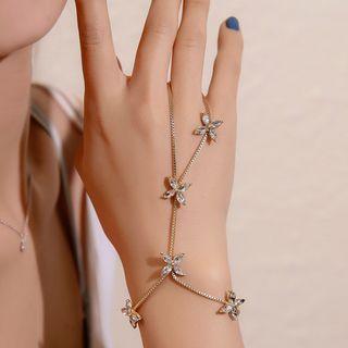 Cheermo - Rhinestone Flower Ring Bracelet