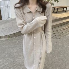 Apotheosis - 長袖腰結帶針織連衣裙