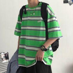 JUN.LEE - Striped Oversize Tee
