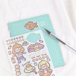 Setaria - 套装: 卡通贴纸 + 美工刀 + 切割垫